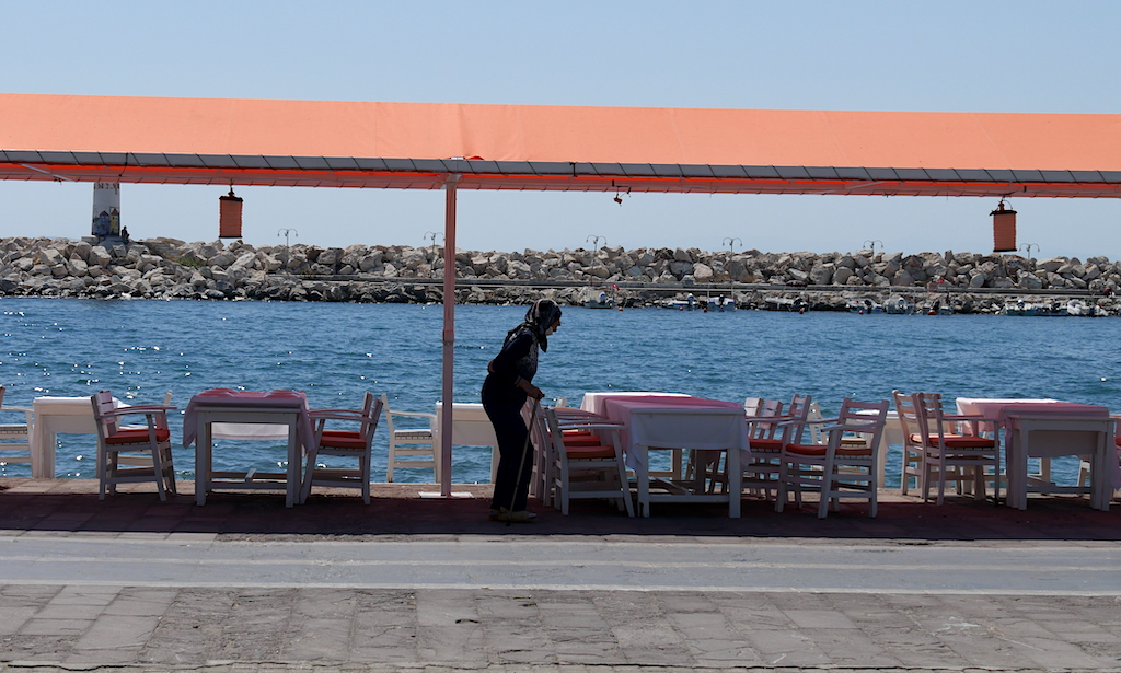 femeie, terasă, mare, Turcia
