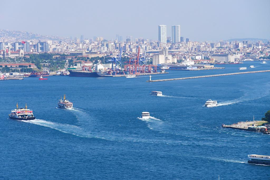 mare, vapoare, clădiri, Istanbul